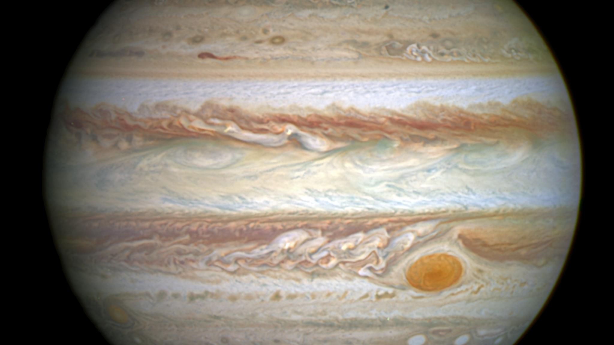 Zentraler Bereich des Planeten Jupiter, Aufnahme des Hubble Space Teleskops, 2014, NASA