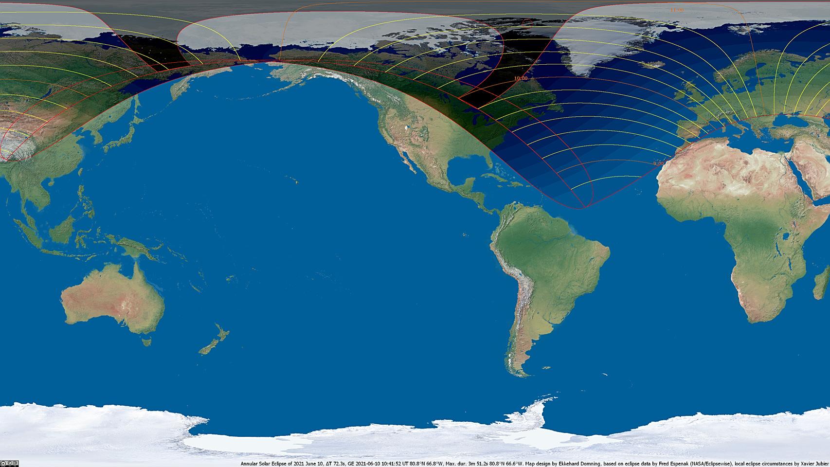 Weltkarte der Sonnenfinsternis vom 10. Juni 2021
