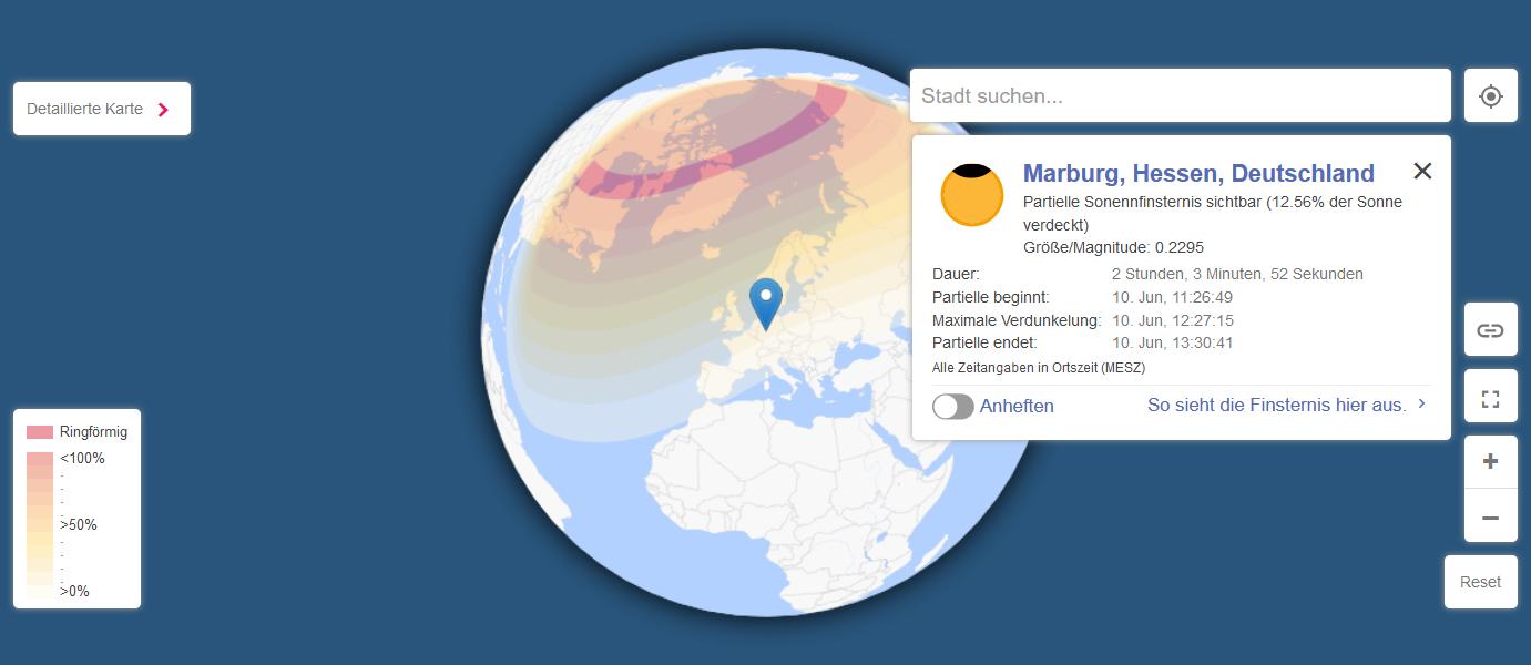 Sichtbarkeit der Sonnenfinsternis am 10. Juni und Daten für Marburg, Copyright www.timeanddate.com.